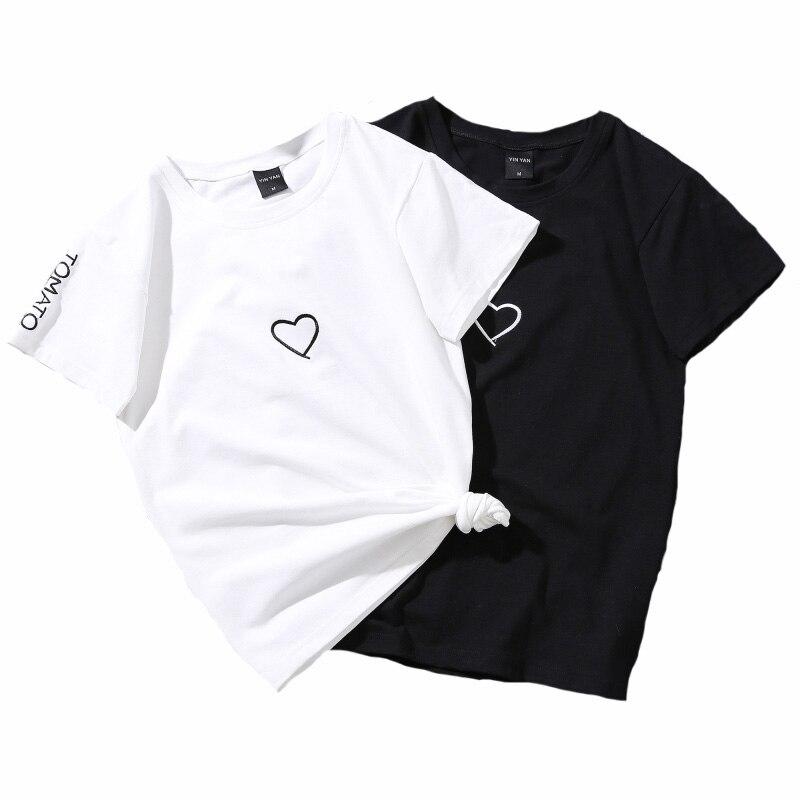Top Women Summer Tees Cotton Lovers Heart Embroidery Short Sleeve Harajuku T shirt