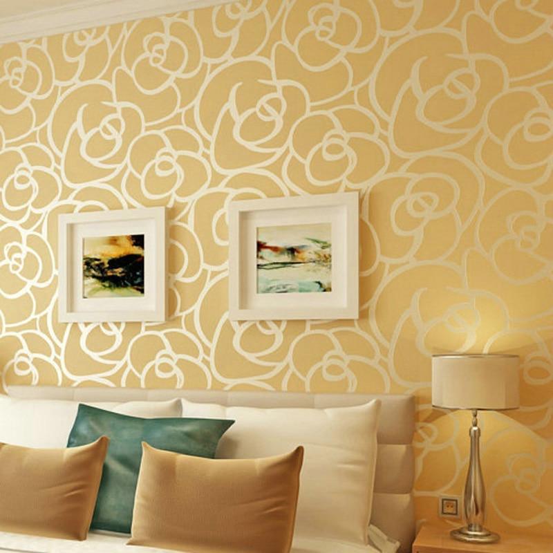 Haute qualité romantique en relief Floral Non-tissé papier peint flocage Rose fleur papier peint chambre salon TV fond WP28