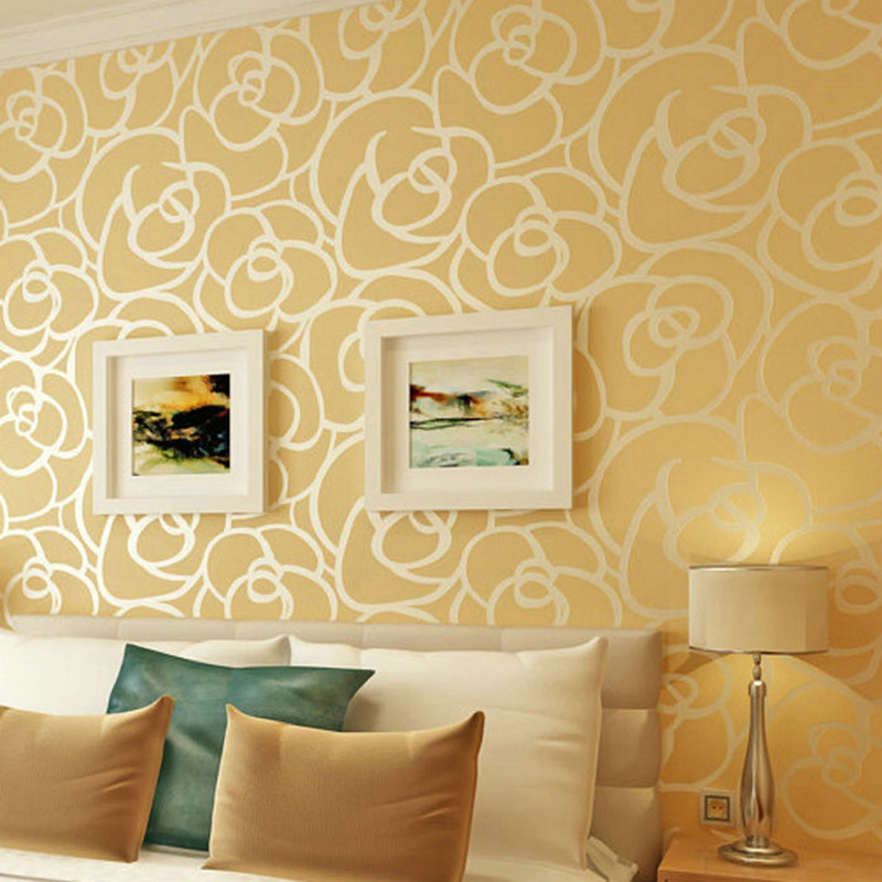 High Quality Romantic Embossed Floral Non-woven Wallpaper Flocking Rose Flower Wall Paper Bedroom Living Room TV Background WP28