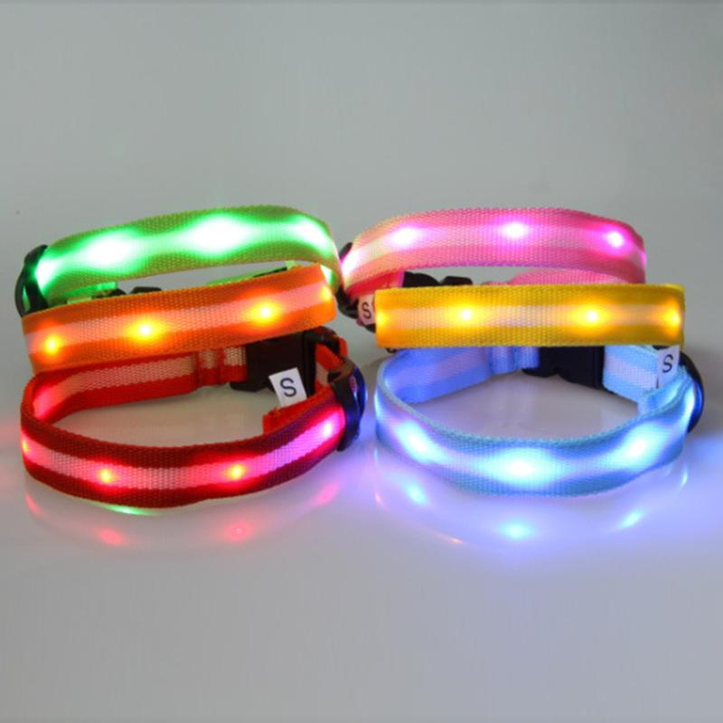 high quality pet shop lights flash night safety nylon pets dog collars adjustable led collares perros waterproof sml in collars from home garden on