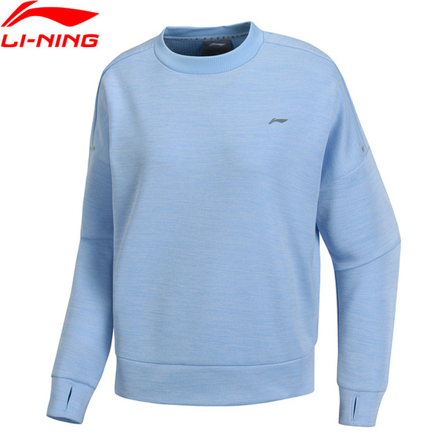 Li-Ning Women Running Series Knit Tops Long Sleeve Tee 100% Polyester Loose Fit LiNing Comfort Sports Sweater AWYP002 WTL1453