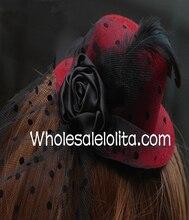 Черный и красная пунктирная перо ретро мини-цилиндр головной