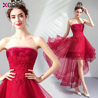 b55df90acaeda Vestidos De Graduacion 2019 Red Homecoming Dresses High Low Short Cocktail  Party Gowns Off The Shoulder