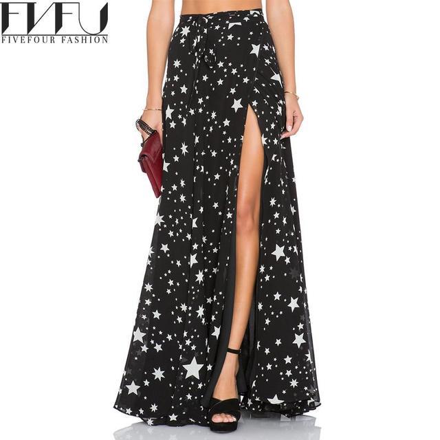 c5f469dca78 Fashion 2018 Skirts Women Autumn Summer Style Black Vintage Maxi Skirt High  Waist Starts Printed Sexy