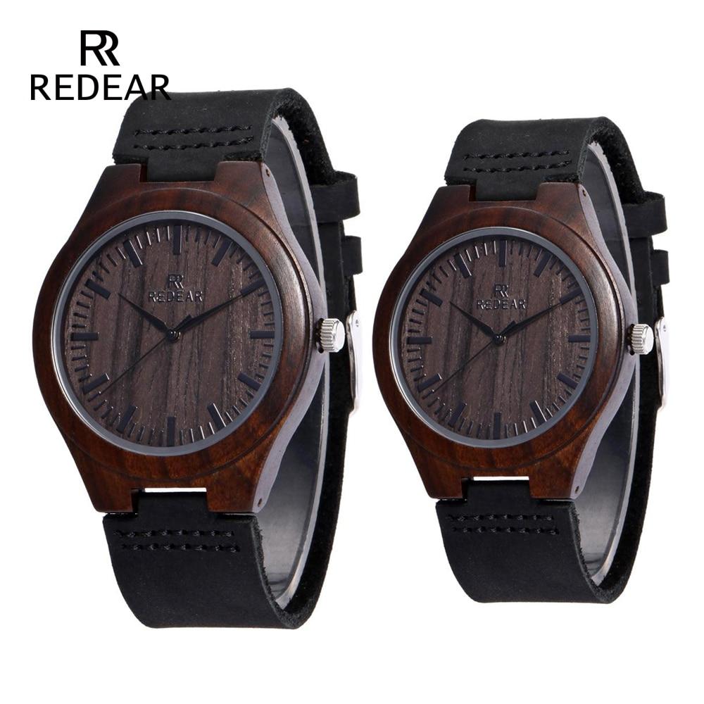 REDEAR Brand Design Classic Black Sandalwood Mens Watch Läder Rem - Damklockor