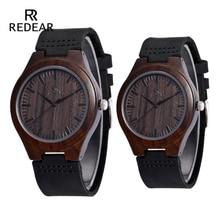 REDEAR Σχεδιασμός Μάρκα Κλασσικό Μαύρο Σανδαλόξυλο Ανδρικό ρολόι Δερμάτινο λουράκι Quartz Ρολόγια Ελαφρύ δώρο για άντρες Γυναίκες Boxon Box