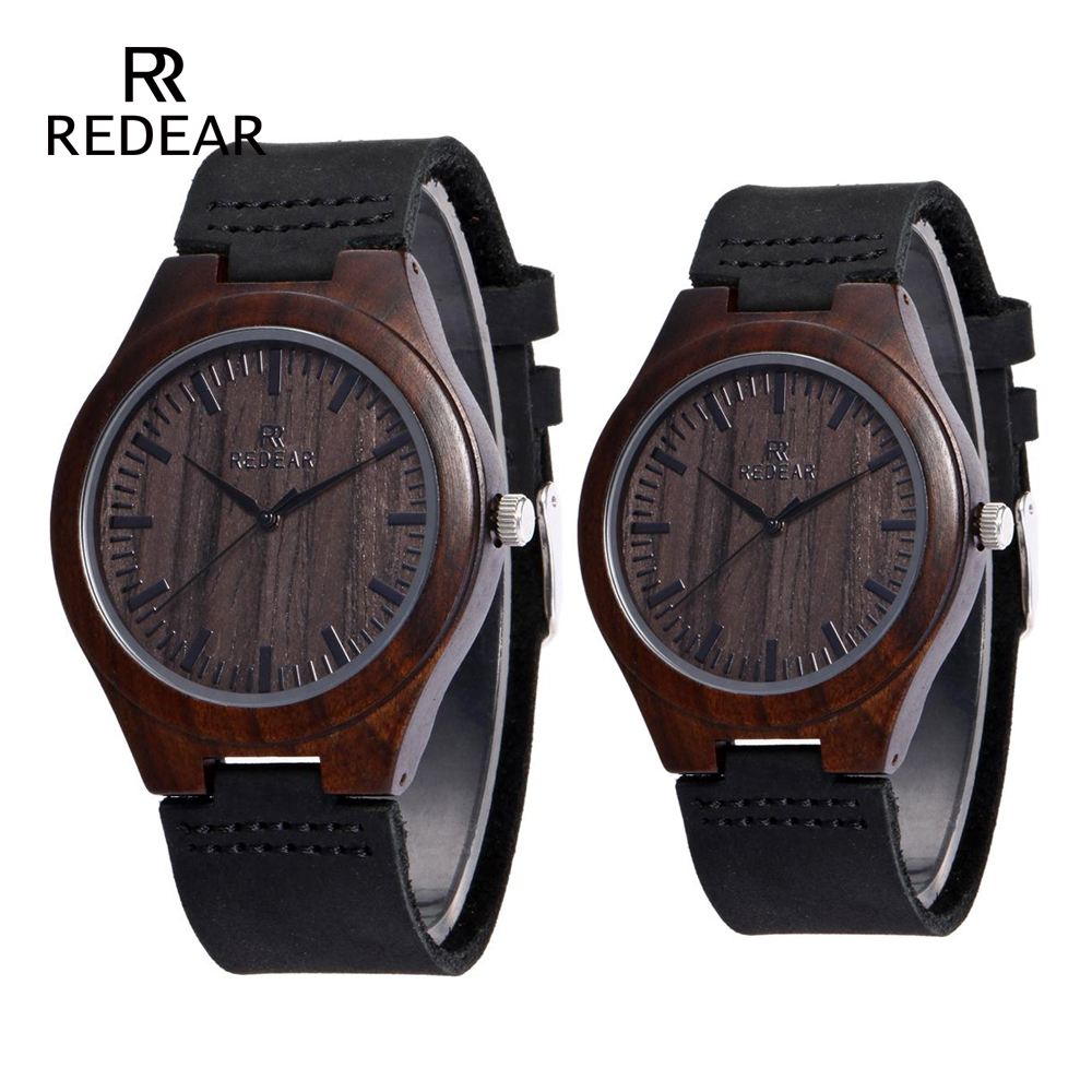 REDEAR Marke Design Classic Black Sandalwood Herrenuhr Lederband - Damenuhren