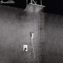 Free Shipping Bathroom Faucet  Various Styles Shower Head Ceiling Arm Two Functions Embedded Box Mixer Valve Set
