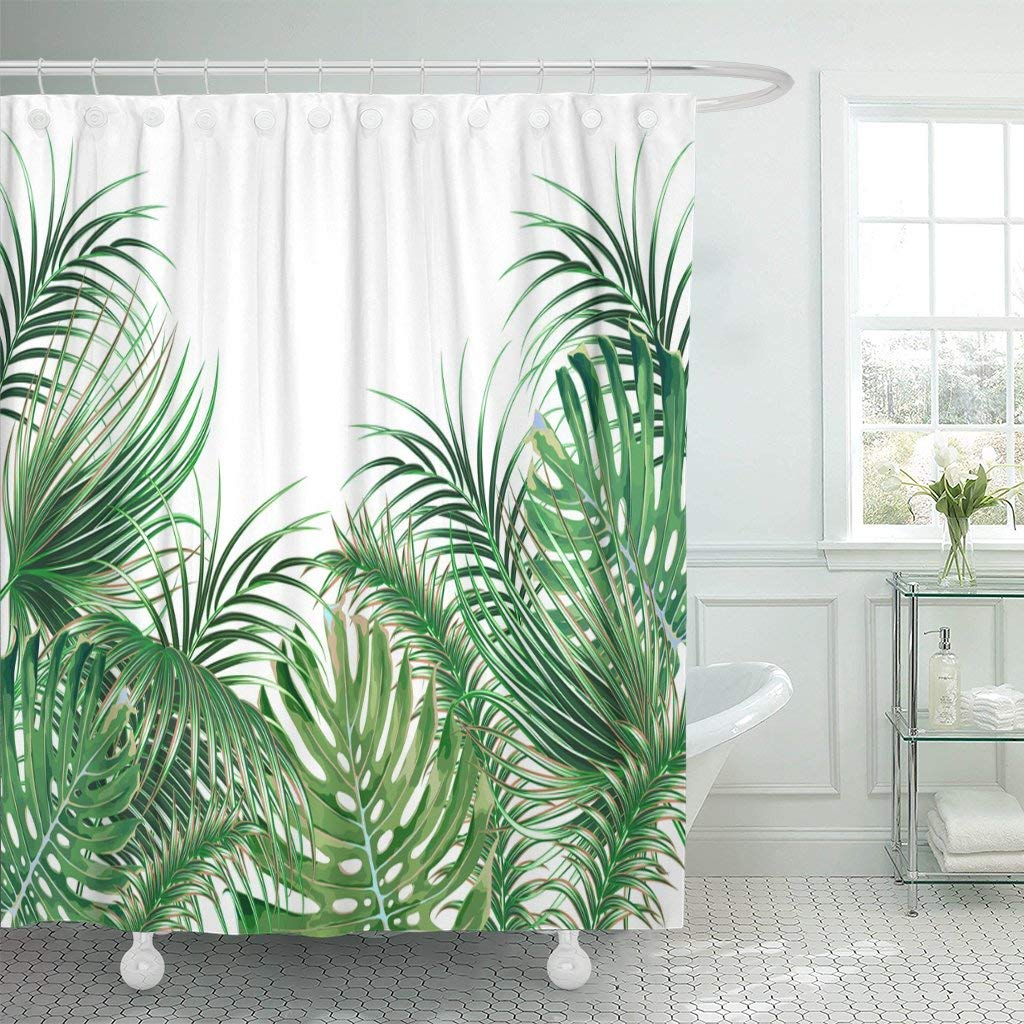 Waterproof Shower Curtains Green Tropical Palm Leaves Monstera Leaf Floral Summer Botanical Natural White Beach Extra Long