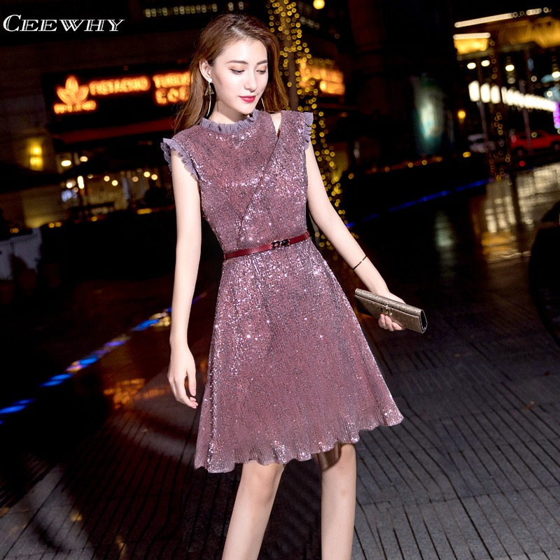 CEEWHY O-Neck Short Prom Dresses 2019 Elegant Knee Length Cocktail Dresses Sequin Formal Gown Bling Sexy Party Dress