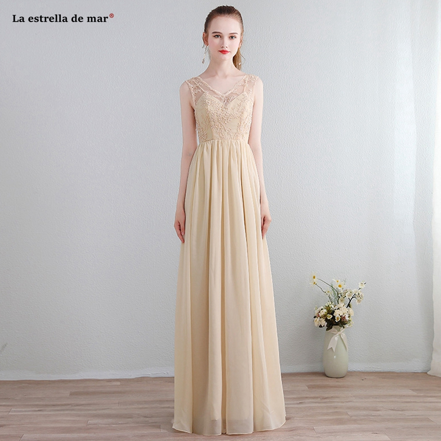 Brautjungfernkleid new lace chiffon a Line champagne   bridesmaid     dresses   long plus size cheap vestidos para boda mujer