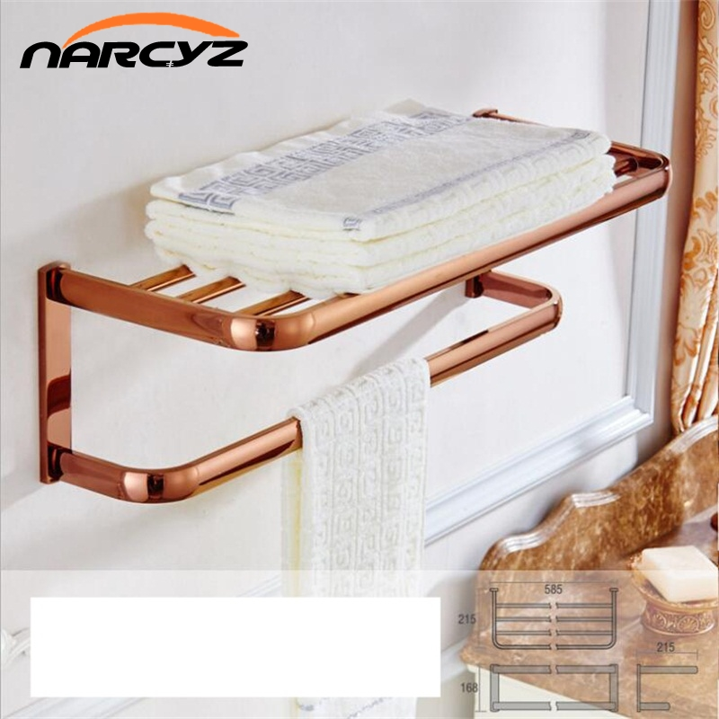 Bathroom Shelves Solid Brass Towel Hanger 2-Tier Towel Holder Racks Bath Storage Rail Wall Bathroom Accessories Towel Bars 9118K bathroom shelves 5 towel hooks brass 2 tier rails towel bars wall shelf bath hangers bathroom accessories towel holder fe 8601