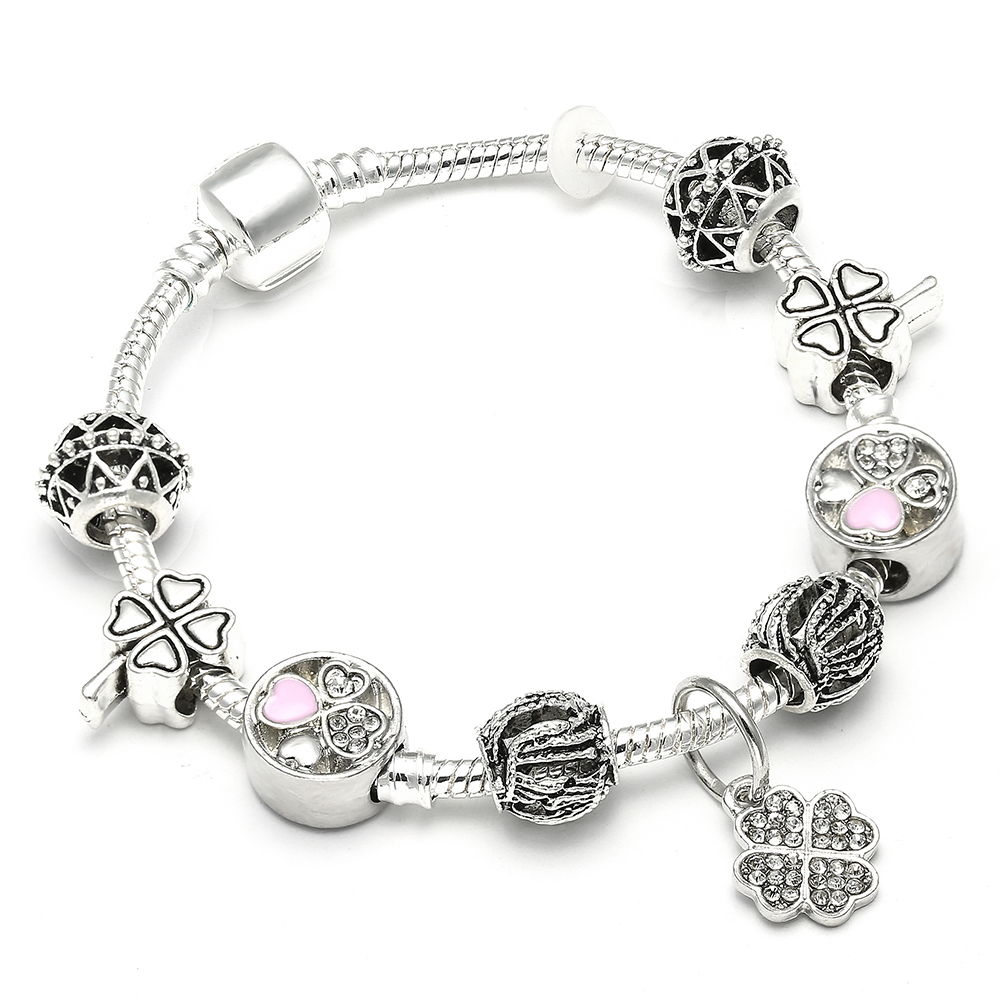 Trendy Plated Silver Clover Charm Pandora Bracelet Bangle With Pink Enamel Clover Bead Bracelet for Women Jewelry Gift