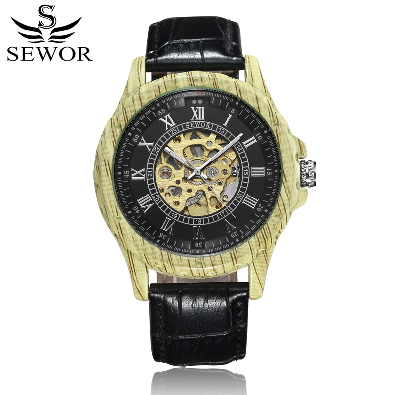 все цены на  SEWOR High Quality Mechanical Automatic Self Wind Watch Men Skeleton Leather Fashion Automatico Wristwatches With Box SWQ42  онлайн