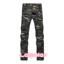 New Brand Men Camouflage Biker Jeans European American Style Mens Motorcycle Camo Military Straight Slim Fit Pleated Denim Jeans european and american style slim straight jeans new brand colorful cloth stitching hole water wash denim trousers size 29 38