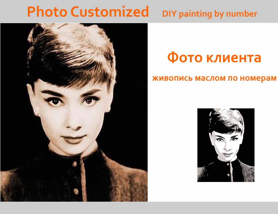Foto personalizada DIY pintura al óleo por número su propia imagen por números boda familia niños Fotos decoración pintura de la mano