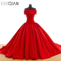 Free Shipping Real Pictures Popular Ball Gown Boat Neck Red Satin Evening Dress