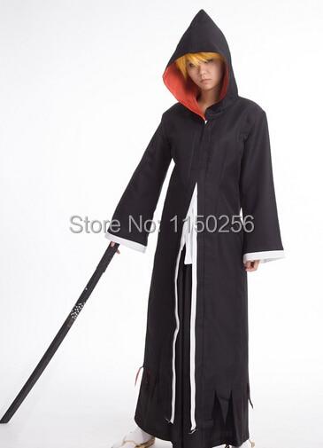 Anime javel Cosplay Costume Kurosaki Ichigo noir ensemble complet tenue Kimono longue cape + pantalon + ceinture livraison gratuite