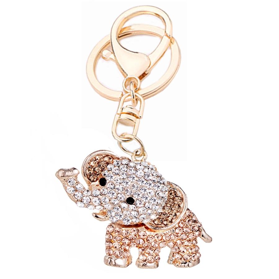 Creative Full Rhinestone Elephants Keychain Fashion Trinket Animal Alloy Key Ring Holder Women Bag Crystal Jewelry Gift R031