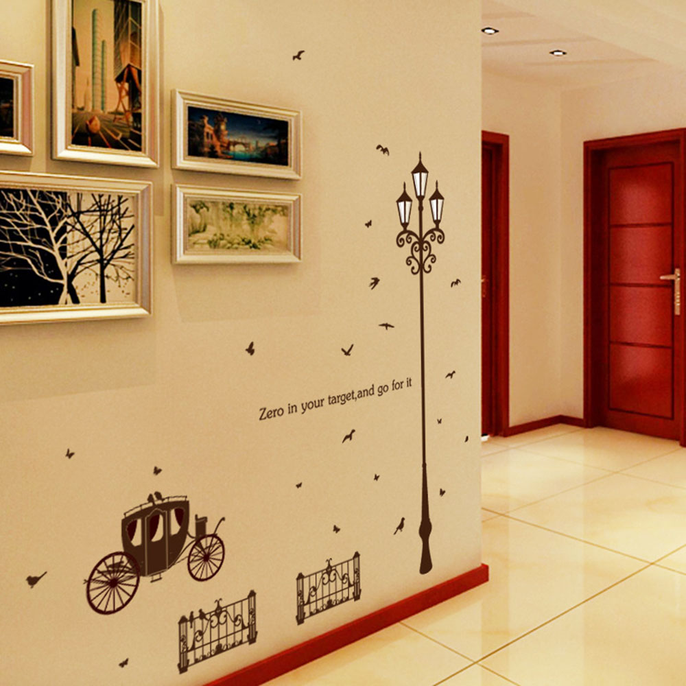 PVC Removable Carriage Wall Sticker Street Light Lamp Wall Decal ...