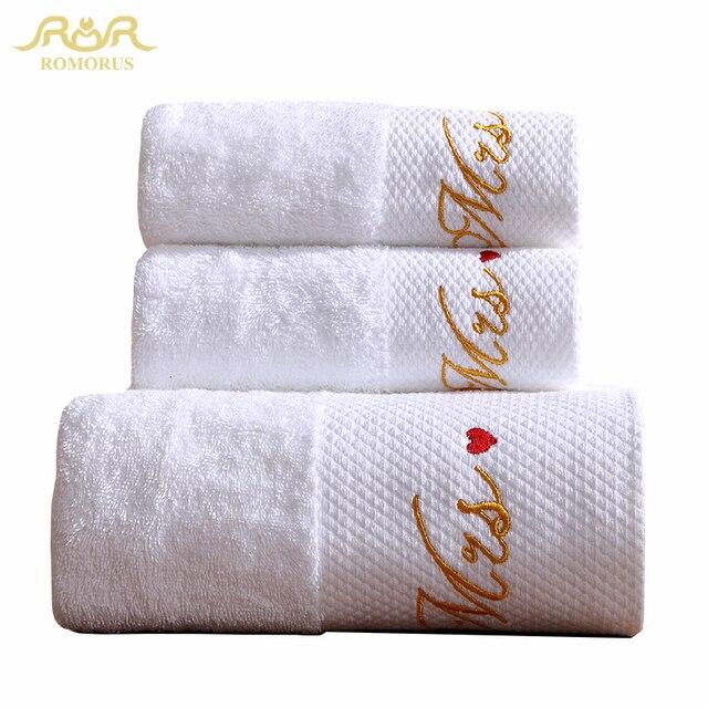 6f296a369a4 ROMORUS 100% Katoen Geborduurde Witte Mr & Mrs Handdoeken Kwaliteit Badstof  Bad Gezicht Handdoek Set