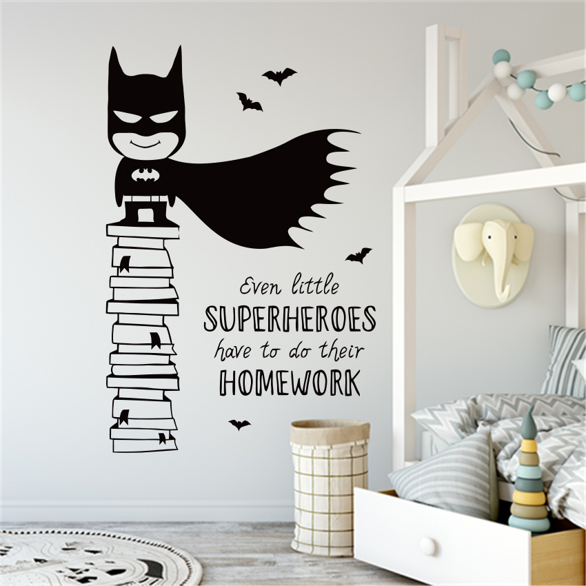 b03 Superheroes Decals Batman Wall Decal Mural Superman Kids Hero Wall Decals