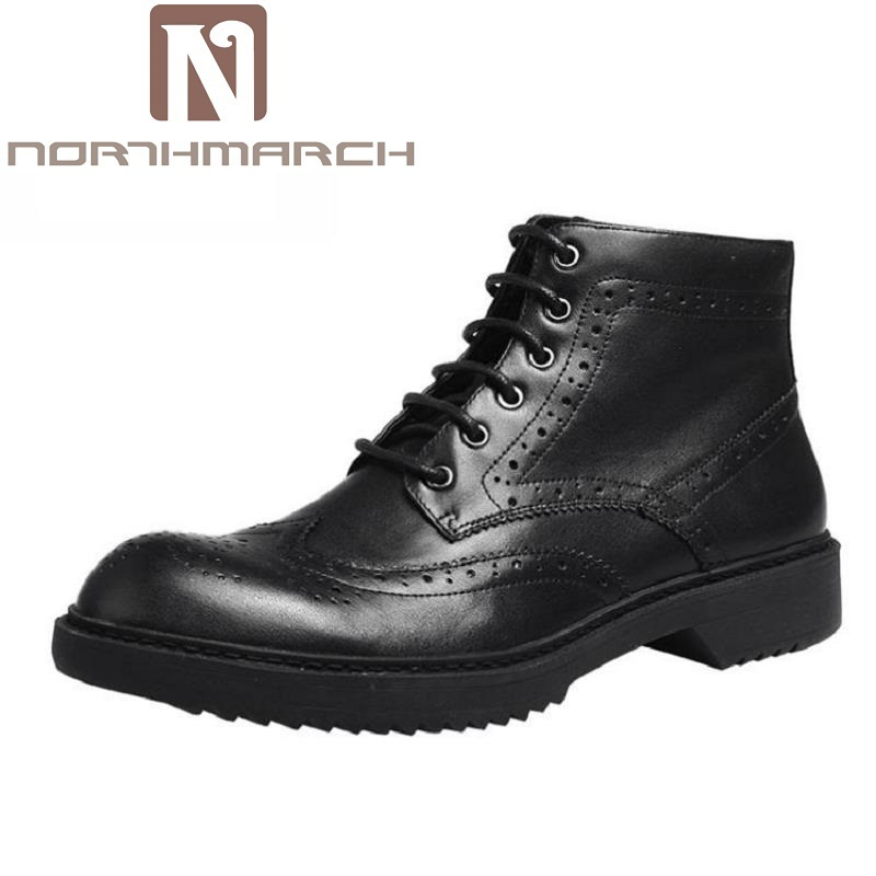 NORTHMARCH Men Martin Boots Mens Handmade High Quality Brand Winter Ankle Boots Footwear Lace-Up Leather Shoes Men Bottes Homme z suo brand new winter women motocycle boots leather lace up ankle martin boots shoes black brown high quality