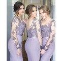 Платье-де-феста Фиолетовый Длинные Платья Невесты Рукава See Through Русалка Невесты Платья Для Свадьбы Платья 2017
