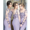 vestido de festa Purple Long Bridesmaid Dress Sleeves See Through Mermaid Bridesmaid Dresses For Wedding Party Gowns 2017