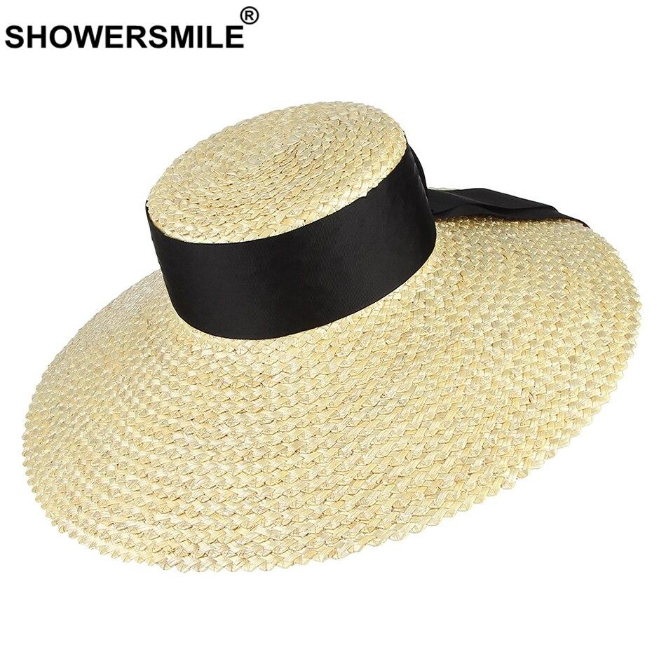 SHOWERSMILE Straw Hat Women Luxury Designer Brand Hat Female Flat Top Beach Beige Lace Up Large Brim 16cm Ladies Sun Hat Summer in Women 39 s Sun Hats from Apparel Accessories