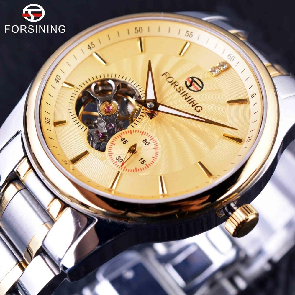 Forsining 2016 Classic Series Sapphire Mirror Tourbillion Designer 316L Stainless Steel Mens Automatic Watches Top Brand Luxury