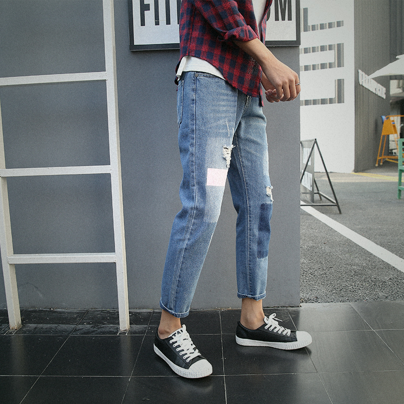 2018 Spring New Mens Fashion Cowboy Slim Holes Bound Feet Ankle-length Pants Tide Casual Blue Color Jeans Trousers Male 28-34