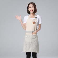 Stripes Cotton Linen Apron Cartoon Bear Pattern Cooking Panting Aprons Restaurant Working Clothes Coffee Use Nail Salon Aprons