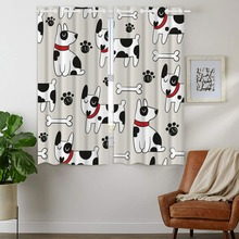 Blackout Curtains 2 Panels Grommet for Bedroom Cute Dog Dalmatian Footprints Bones