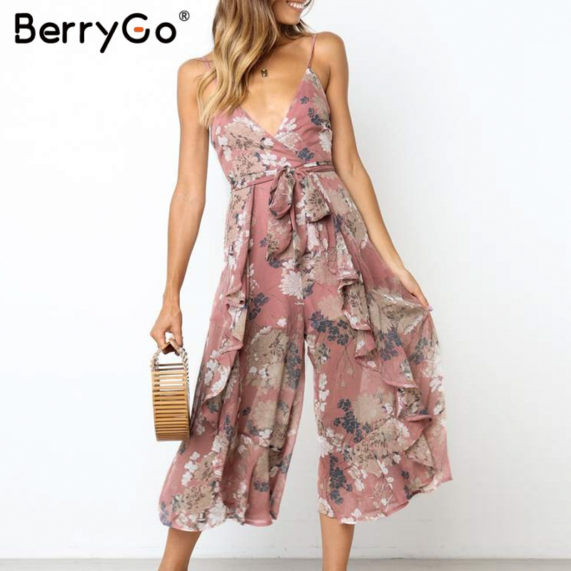 BerryGo Boho   jumpsuit   floral print women rompers   jumpsuit   Sexy spaghetti strap sashes   jumpsuit   romper Elegant ruffled overalls