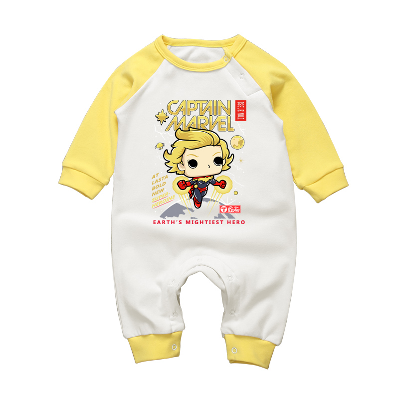 Winter Newborn Baby Brand Clothes Baby Boy Girl Pajamas Rompers Captain Marvel Cartoon Jumpsuits Infant Long Sleeve Clothing Set