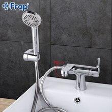 Frap 1 компл. Классический стиль Ванная раковина кран с ручной душ холодной и горячей воды смеситель для ванны 75 градусов переключатель F1252