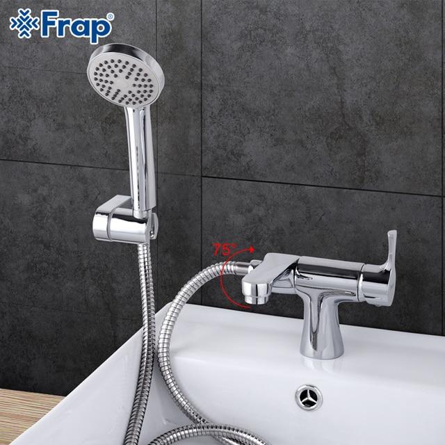 Frap 1 takım klasik tarzı banyo havzası musluk duş başlığı soğuk ve sıcak su mikser küvet musluk 75 derece anahtarı f1252