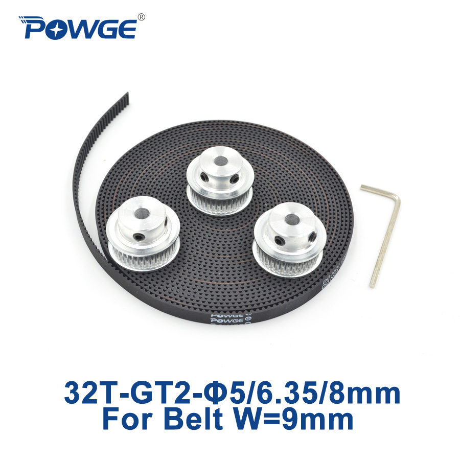POWGE 3pcs 32 teeth GT2 Synchronous Pulley Bore 5mm 6.35mm 8mm + 5Meters width 9mm GT2 Timing Belt 2GT pulley Belt 32T 32Teeth powge 24 teeth 2gt timing pulley bore 5mm 6 35mm 8mm for width 15mm gt2 synchronous belt small backlash 2gt pulley 24teeth 24t
