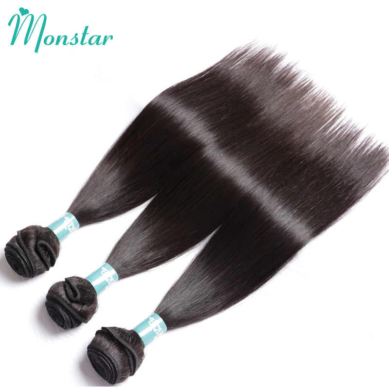 Monstar 28 30 40 inç düz insan saçı demetleri ile Frontal Remy brezilyalı saç örgü demetleri ile 13x4 dantel Frontal kapatma