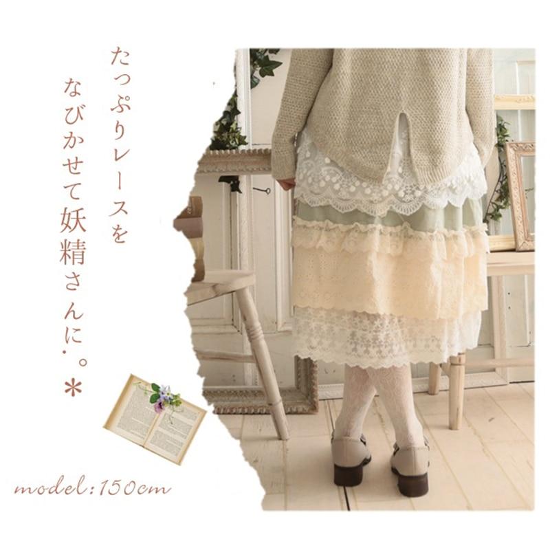 Primavera Color Patchwork Falda Mori color 2 Mujeres Japonés Verano Faldas Mediados Encaje Algodón Ruffles De V057 Lolita 1 Niña 2017 Múltiples Capas Original dS8wdHq
