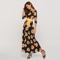 CHUANGJING Summer Vintage Women Floral Print O neck Three Quarter Sleeve Dress Ladies Classic Elegant Holiday Party Dress