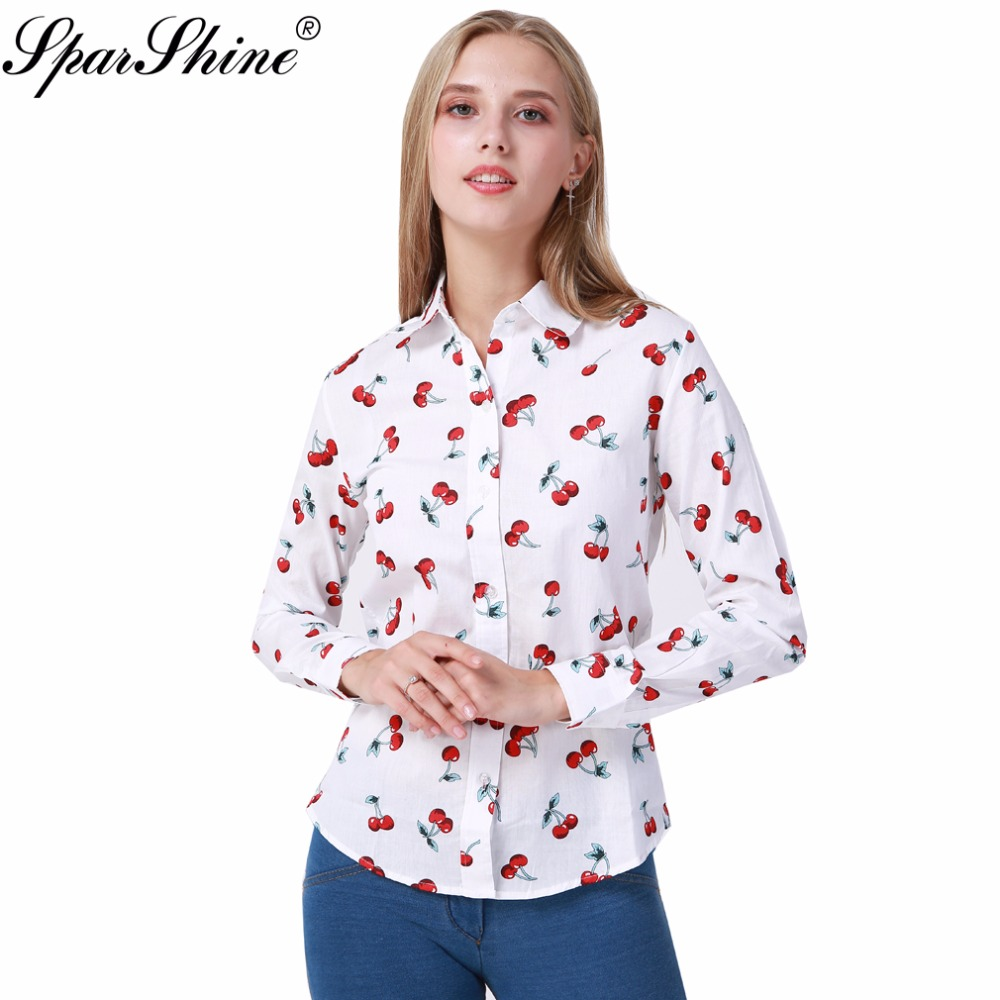 SPARSHINE 8 Colors Floral Long Sleeve Vintage Blouse Cherry Turn Down Collar Shirt Blusas Feminino Ladies Blouses Womens Tops