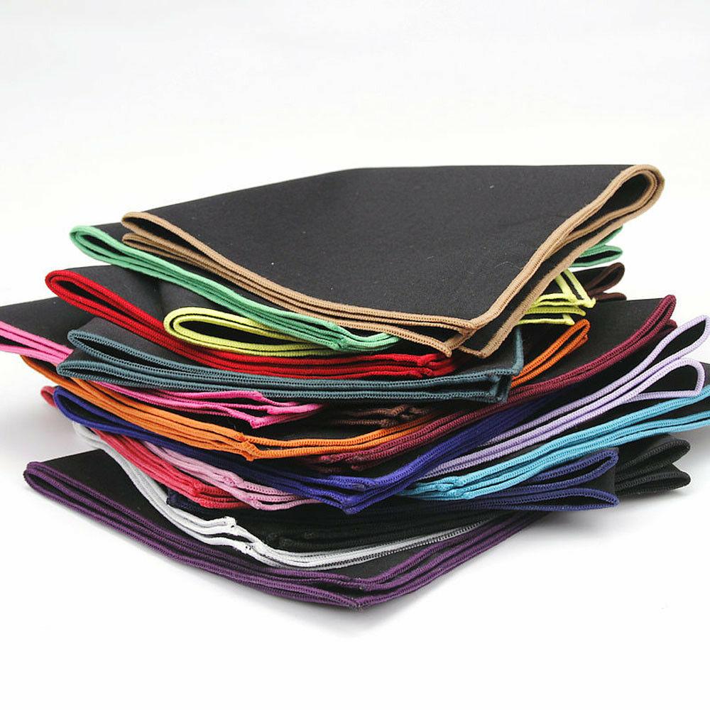 Men's Cotton Black Pocket Square Colorful Handkerchief Wedding Hanky YFTIE0183