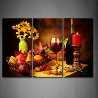 Framed Wall Art Pictures Candle Flowers Fruits Nut Canvas Print Food Poster With Wooden Frame For Home Living Room Decor