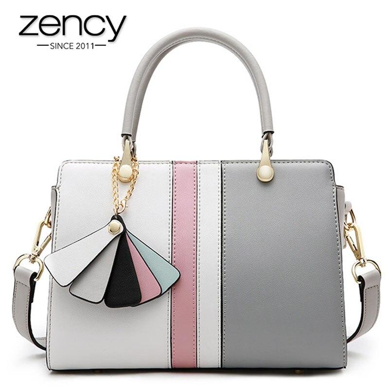 Zency Panelled Colors Women Tote Bag 100 Genuine Leather Fashion Office Lady Handbag Simple Crossbody Shoulder
