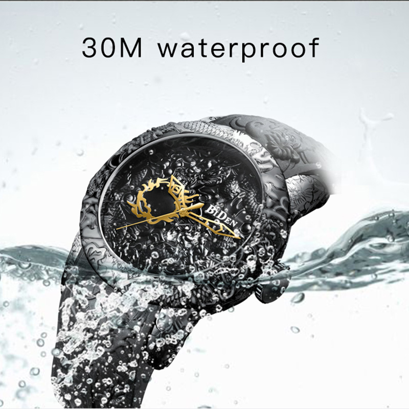Black Men Watches Fashion 3D Engraved Dragon Relogio Masculino Luxury 2018 Top Brand Quartz Watch Waterproof Sport Male Clock Islamabad