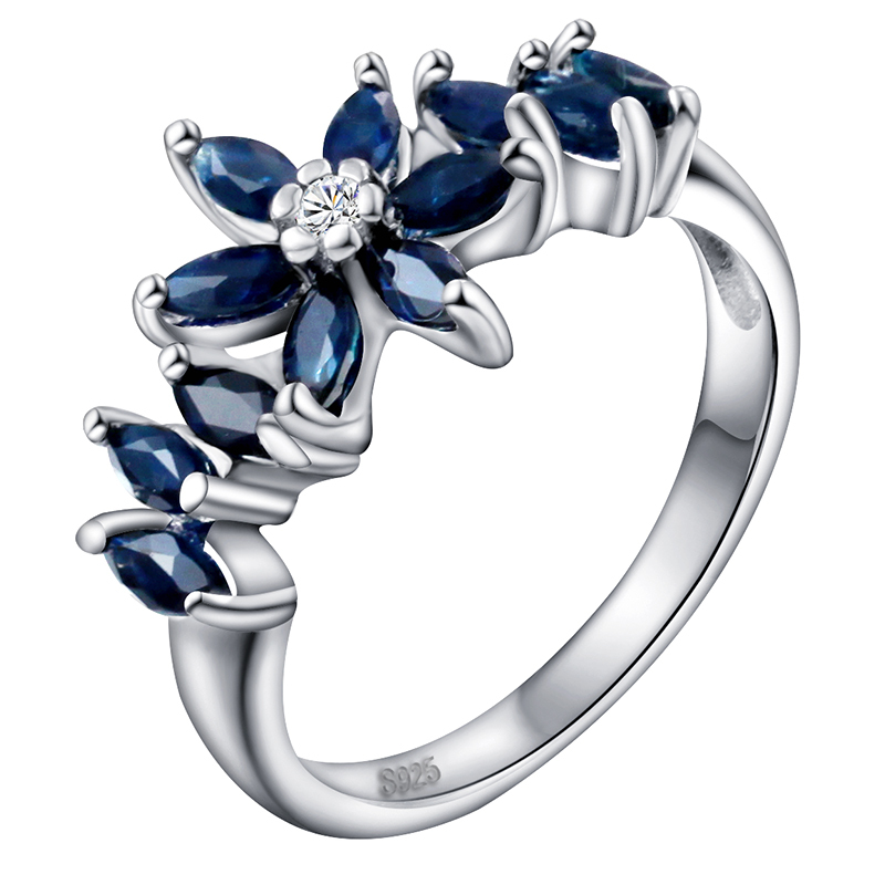 Natural Sapphire Ring 925 Sterling silver Marquise Flower Woman Fashion Fine Elegant Jewelry Princess Birthstone Gift SR0043S natural pink ruby ring flower in 925 sterling silver fancy sapphire jewelry fashion elegant luxury birthstone gift sr0159r