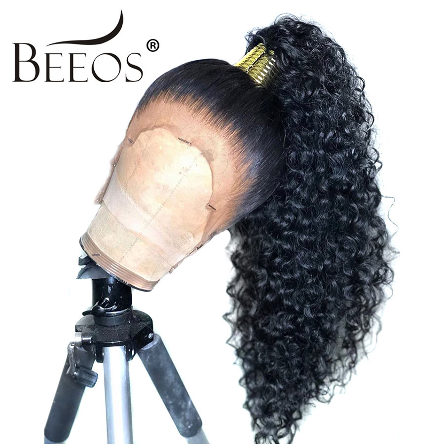 Beeos 360 Lace Frontal Human Hair Wig Curly Pre Plucked With Baby Hair Brazilian Remy Wigs Bleached Knots For Women Black