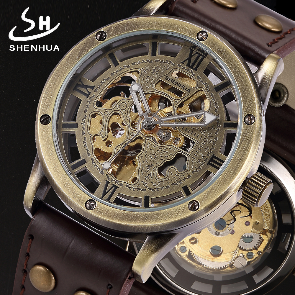 SHENHUA 2018 Antique Skeleton Watch Men Vintage Automatic Mechanical Wrist Watches Pu Leather Transparent Watch Clock for Man гайковерт makita dtw190z